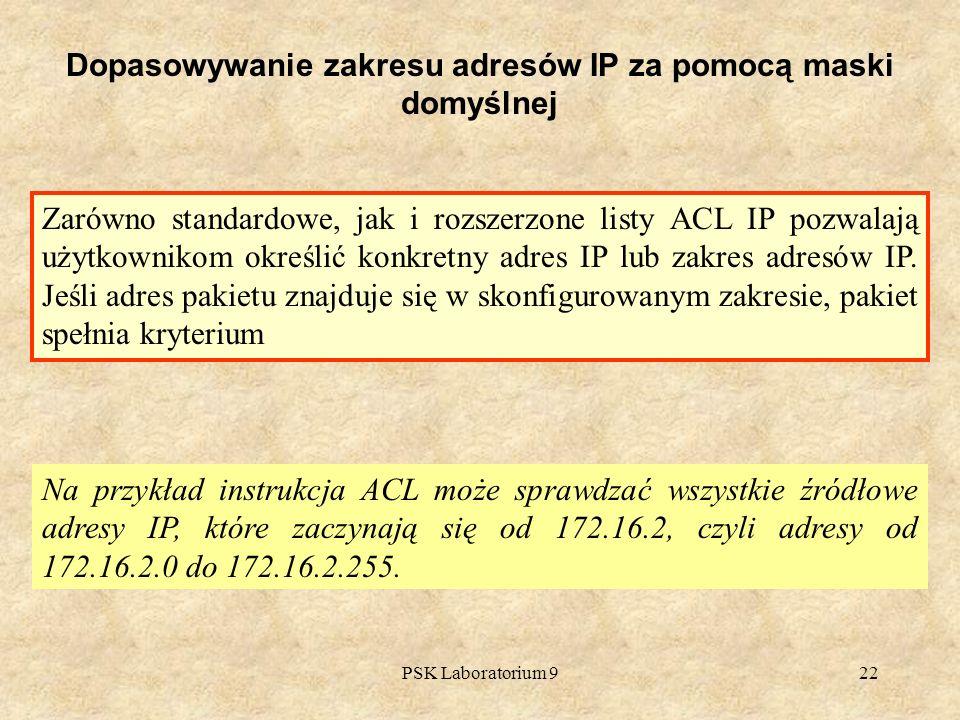 PSK Laboratorium 922 Dopasowywanie zakresu adresów IP za pomocą maski domyślnej Na przykład instrukcja ACL może sprawdzać wszystkie źródłowe adresy IP