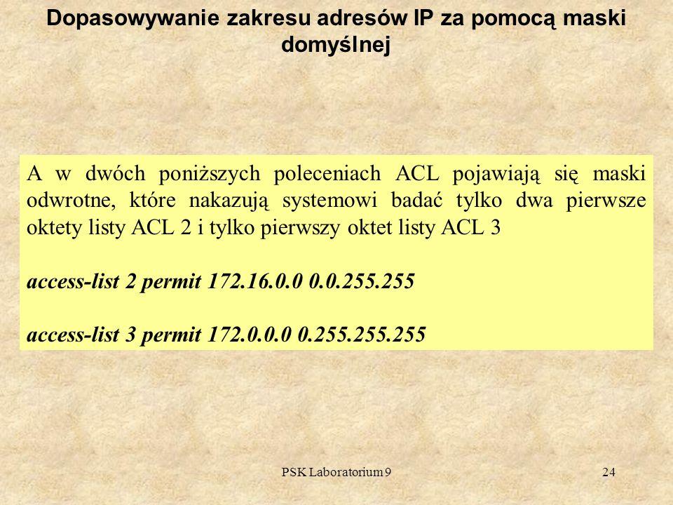 PSK Laboratorium 924 Dopasowywanie zakresu adresów IP za pomocą maski domyślnej A w dwóch poniższych poleceniach ACL pojawiają się maski odwrotne, któ