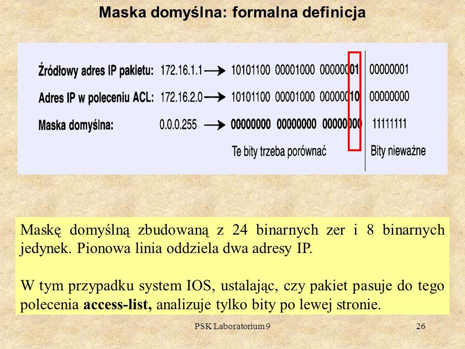 PSK Laboratorium 926 Maska domyślna: formalna definicja Maskę domyślną zbudowaną z 24 binarnych zer i 8 binarnych jedynek. Pionowa linia oddziela dwa