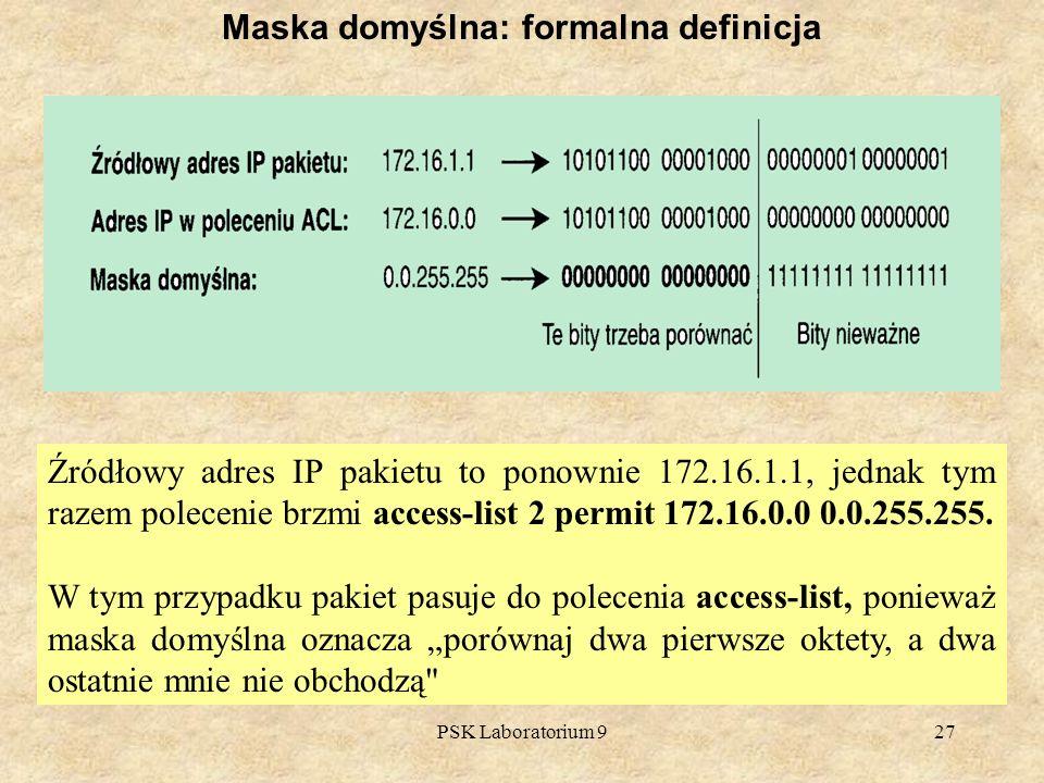 PSK Laboratorium 927 Maska domyślna: formalna definicja Źródłowy adres IP pakietu to ponownie 172.16.1.1, jednak tym razem polecenie brzmi access-list