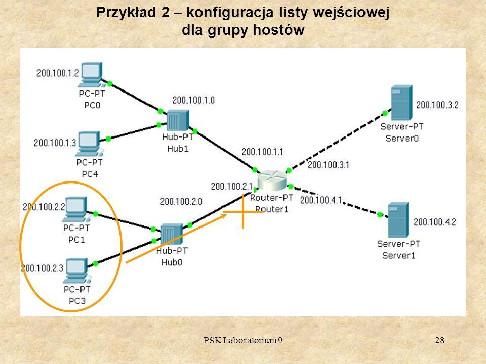 PSK Laboratorium 928 Przykład 2 – konfiguracja listy wejściowej dla grupy hostów