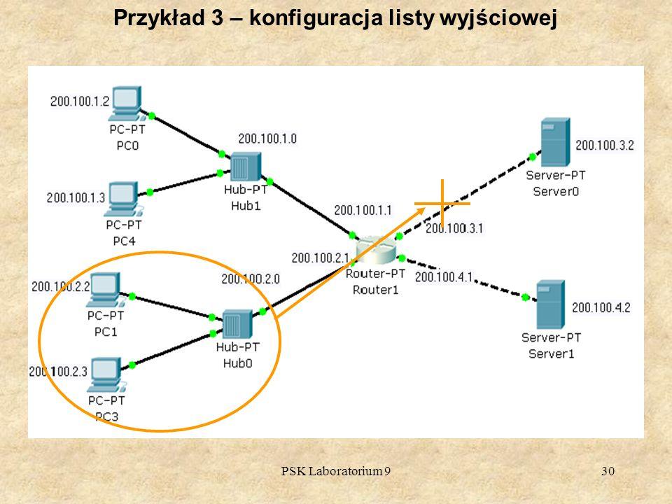 PSK Laboratorium 930 Przykład 3 – konfiguracja listy wyjściowej