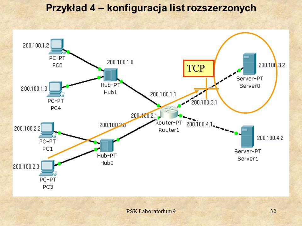 PSK Laboratorium 932 Przykład 4 – konfiguracja list rozszerzonych TCP