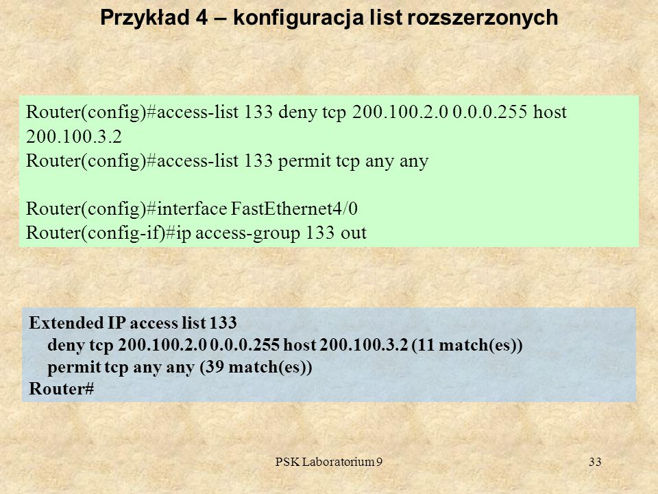 PSK Laboratorium 933 Router(config)#access-list 133 deny tcp 200.100.2.0 0.0.0.255 host 200.100.3.2 Router(config)#access-list 133 permit tcp any any