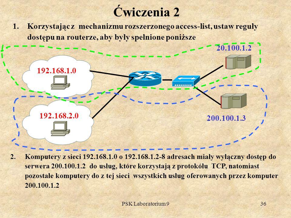 PSK Laboratorium 936 1.Korzystając z mechanizmu rozszerzonego access-list, ustaw reguły dostępu na routerze, aby były spełnione poniższe Ćwiczenia 2 1