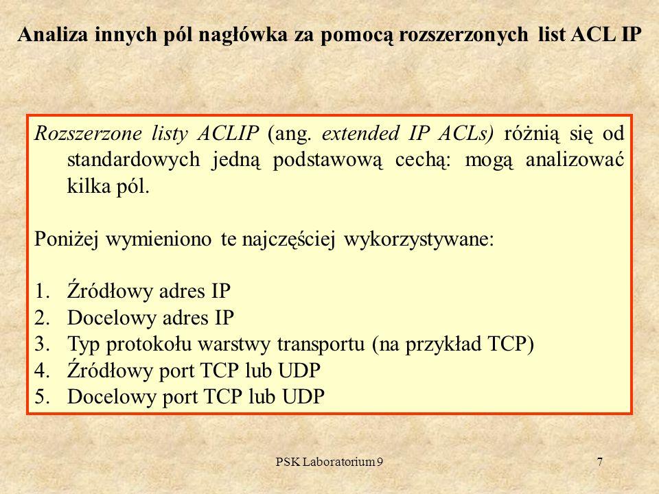 PSK Laboratorium 97 Analiza innych pól nagłówka za pomocą rozszerzonych list ACL IP Rozszerzone listy ACLIP (ang. extended IP ACLs) różnią się od stan