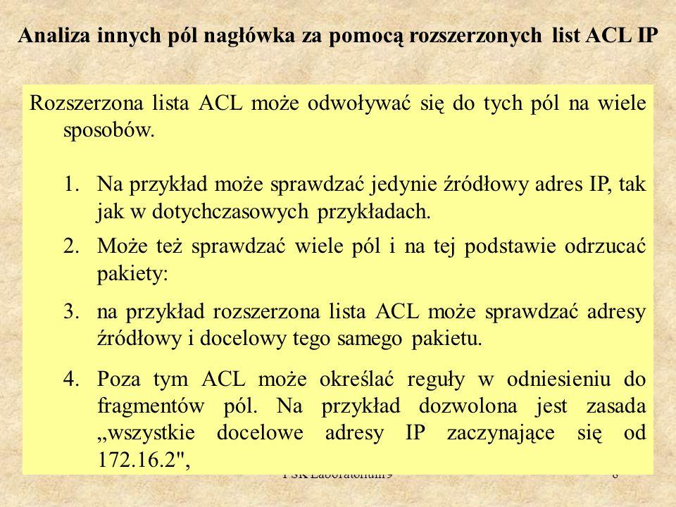 PSK Laboratorium 98 Analiza innych pól nagłówka za pomocą rozszerzonych list ACL IP Rozszerzona lista ACL może odwoływać się do tych pól na wiele spos