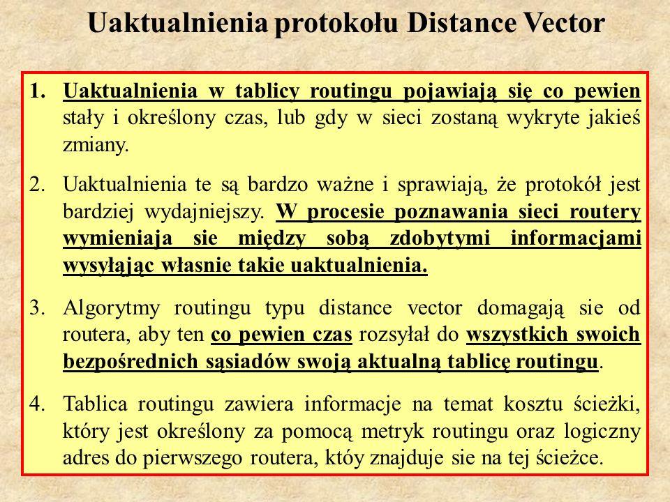 MS (PSK Laboratorium 4)17 Problem pętli w protokołach typu Distance Vector Pętle routingu pojawiają się, gdy tablice toutingu są niezgodne z rzeczywistym stanem sieci, lub gdy zbieżność sieci (w przypadku jakiś zmian) jest osiągana zbyt długo
