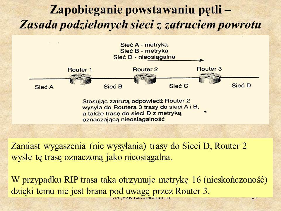 MS (PSK Laboratorium 4)25 Zapobieganie powstawaniu pętli Zliczanie do nieskończoności 1.Niektóre protokoły przechowują informacje dotyczące ilości routerów jakie przebył pakiet podróżując przez sieć.