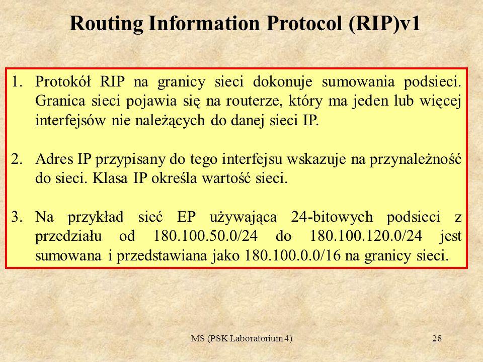 MS (PSK Laboratorium 4)29 Podstawy przekazywania informacji RIPv1 Protokół RIPvl ma następujące informacje na temat każdego celu: 1.adres IP - adres IP docelowego hosta lub sieci, 2.brama - pierwsza brama na drodze w kierunku celu, 3.interfejs - fizyczna sieć, która musi być użyta, aby osiągnąć cel, 4.metryka - liczba skoków do osiągnięcia celu, 5.zegar- czas, który upłynął od ostatniego uaktualnienia