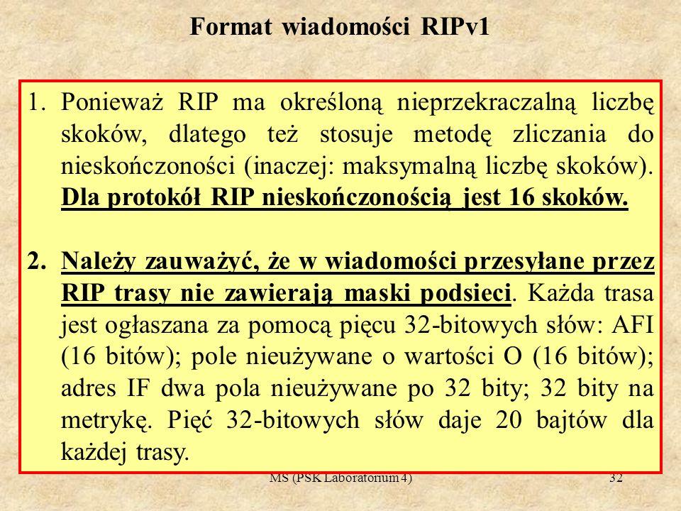 MS (PSK Laboratorium 4)33 W jednej wiadomości RIP może być przesłanych do 25 tras.