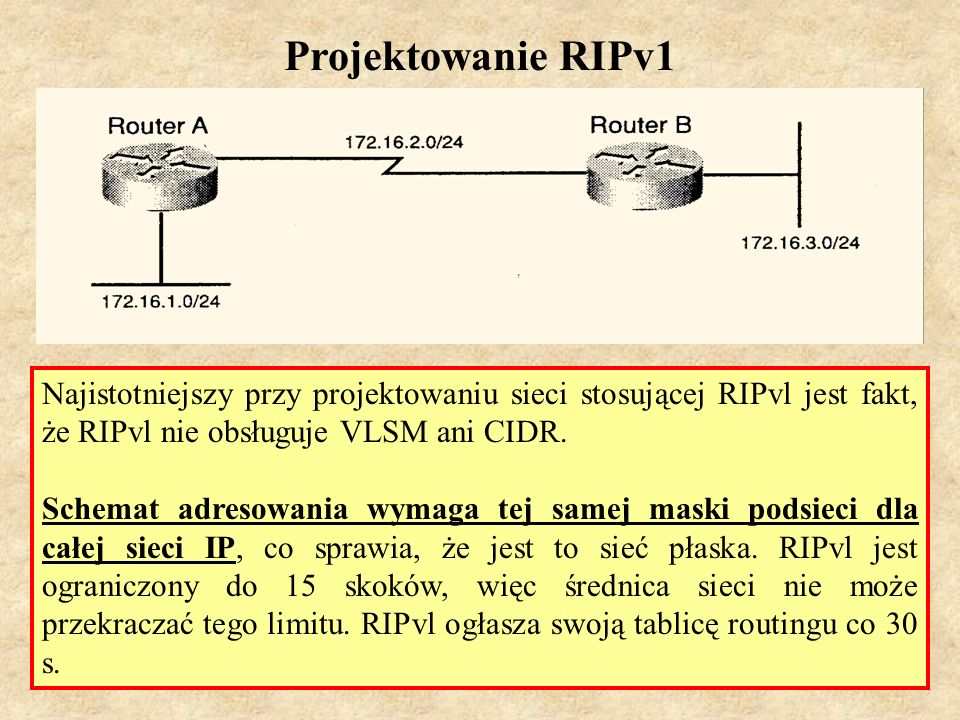 MS (PSK Laboratorium 4)38 RIPv1 - własności 1.protokół wektora odległości, 2.stosuje port UDP 520, 3.protokół klasowy (brak obsługi VLSM i CIDR), 4.metryką jest liczba skoków, 5.maksymalna liczba skoków wynosi 15; trasa nieosiągalna ma metrykę równą 16, 6.cykliczne uaktualnienia rozgłoszeniowe co 30 sekund, 7.25 tras w jednej wiadomości RIP, 8.stosuje metodę podziału horyzontu z zatrutym powrotem, 9.stosuje uaktualnienia wywoływane, 10.brak obsługi uwierzytelniania, 11.dystans administracyjny dla RIP wynosi 120, 12.stosowany w małych, płaskich sieciach lub na brzegach większych sieci.