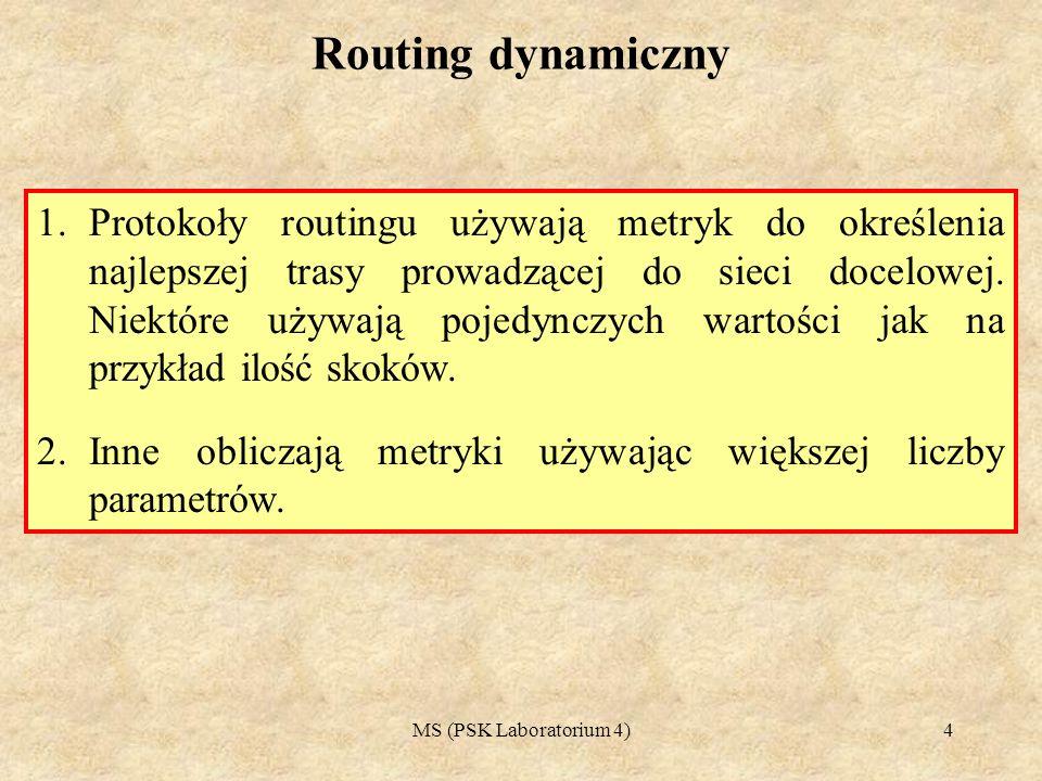 MS (PSK Laboratorium 4)5 Protokoły routingu wektora odległości 1.Pierwszymi używanymi protokołami wewnętrznymi były protokoły typu wektora odległości.