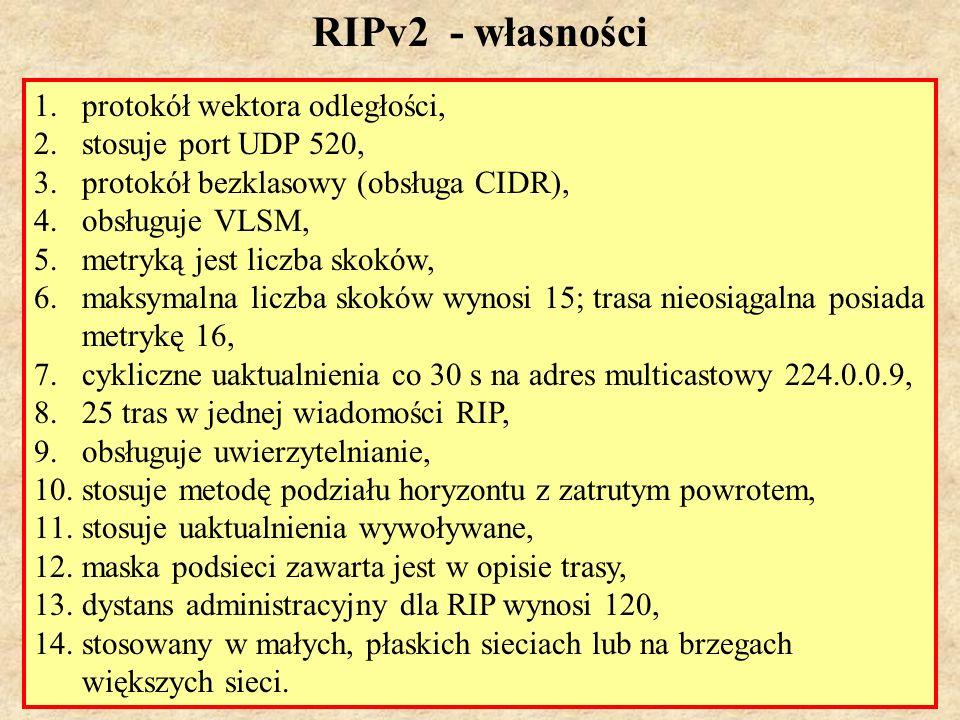 MS (PSK Laboratorium 4)41 Konfiguracja RIP Polecenie router rip uaktywnia protokół.