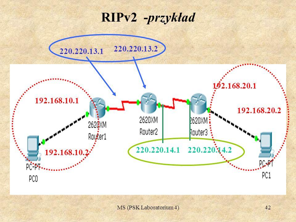 MS (PSK Laboratorium 4)43 RIPv2 -przykład konfiguracja Router#configure terminal Enter configuration commands, one per line.