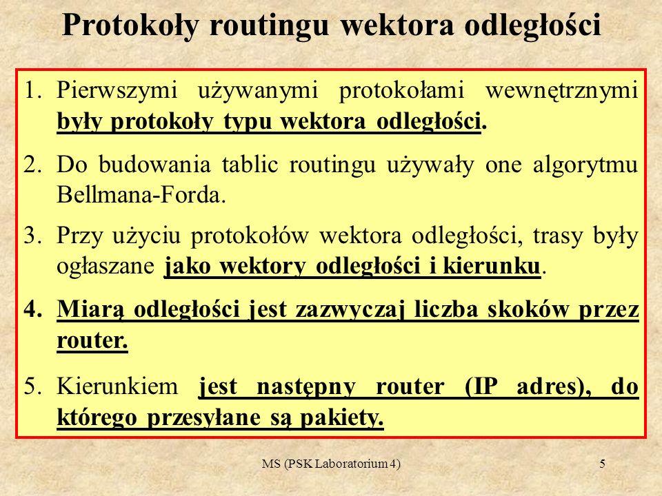 MS (PSK Laboratorium 4)6 1.Każdy router tworzy kopię otrzymanych informacji i przekazuje je dalej bez wprowadzania zmian.