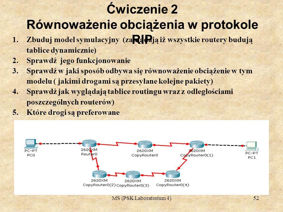 MS (PSK Laboratorium 4)53 1.Na poniższym rysunku pokazano przykład routingu RIP z wykorzystaniem trzech ścieżek o równych kosztach.