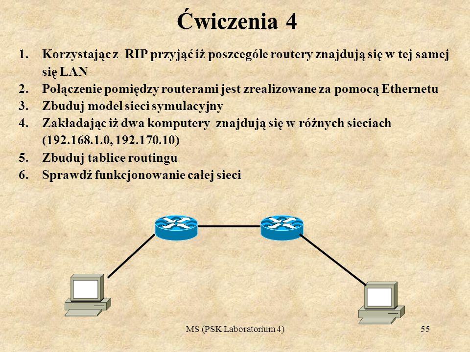 MS (PSK Laboratorium 4)56 Ćwiczenia 5 1.Korzystając z RIP Należy przyjąć iż poszcególe routery znajdują się w tej samej się LAN 2.Połączenie pomiędzy routerami jest zrealizowane za pomocą Ethernetu 3.Zbuduj model sieci symulacyjny 4.Zakładając iż trzy komputery znajdują się w różnych sieciach (192.168.1.0, 192.170.10, 170.189.90.0) 5.Zbuduj tablice routingu 6.Sprawdź funkcjonowanie całej sieci