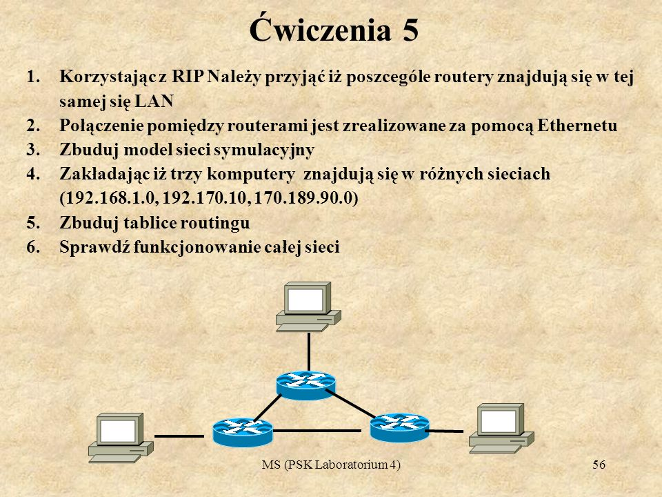 MS (PSK Laboratorium 4)57 Ćwiczenia 6 1.Korzystając z RIP Należy przyjąć iż poszcególe routery znajdują się w tej samej się LAN 2.Połączenie pomiędzy routerami jest zrealizowane za pomocą Ethernetu 3.Zbuduj model sieci symulacyjny 4.Zakładając iż 4 komputery znajdują się w różnych sieciach (192.168.1.0, 192.170.10, 170.189.90.0, 171.189.90.0, ) 5.Zbuduj tablice routingu 6.Sprawdź funkcjonowanie całej sieci