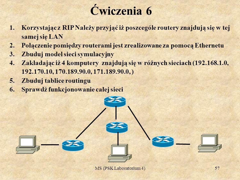 MS (PSK Laboratorium 4)58 Ćwiczenia 7 1.Korzystając z RIP Należy przyjąć iż poszcególe routery znajdują się w tej samej się LAN 2.Połączenie pomiędzy routerami jest zrealizowane za pomocą Ethernetu 3.Zbuduj model sieci symulacyjny 4.Zakładając iż wszystkie komputery znajdują się w tej samej sieci 192.168.1.0 /255.255.255.192 ) 5.Zbuduj tablice routingu 6.Sprawdź funkcjonowanie całej sieci