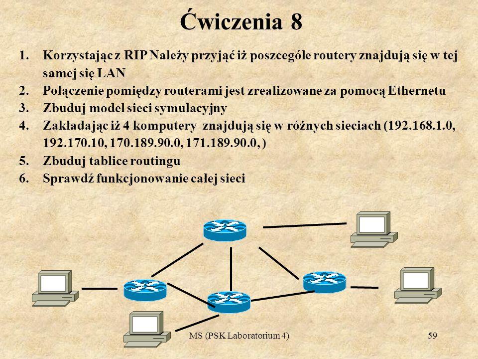 MS (PSK Laboratorium 4)60 Ćwiczenia 9 1.Korzystając z RIP Należy przyjąć iż poszcególe routery znajdują się w tej samej się LAN 2.Zaproponuj adresowanie, komputery znajdujące się w poszczególnych budynkach powinny stanowić odziemną domenę ogłoszeniową 3.W każdym z budynków jest 5 komputerółw PC 4.Na każdym serwerze zainstalowany jest serwer WWW, oraz FTP 5.Połączenie pomiędzy routerami jest zrealizowane za pomocą Ethernetu 6.Zbuduj model sieci symulacyjny 7.Zbuduj tablice routingu 8.Sprawdź funkcjonowanie całej sieci