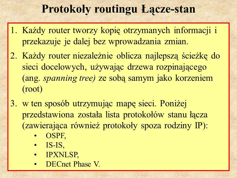 MS (PSK Laboratorium 4)7 Protokoły wektora odległości a protokoły łącze-stan 1.Protokoły łącze-stan nie generują znaczącego obciążenia pasma ale znacznie bardziej obciążają procesor i pamięć routera niż protokoły wektora odległości.