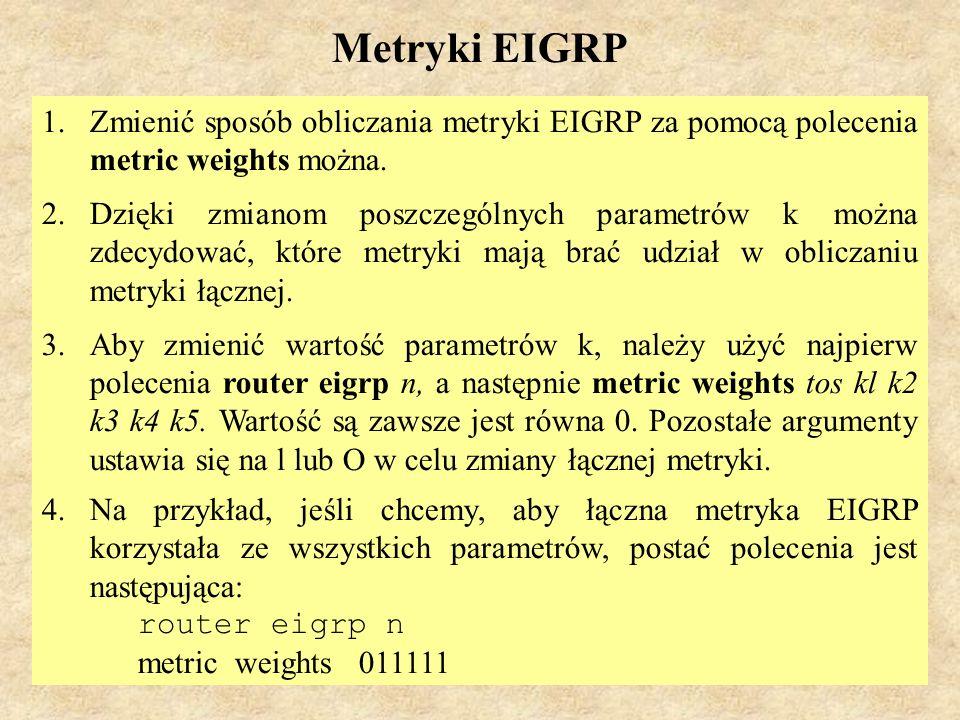MS (PSK Laboratorium 4)66 Typy pakietów EIGRP Wyróżnia się pięć typów pakietów protokołu EIGRP: 1.Hello, 2.potwierdzenie (Acknowledgment), 3.aktualizacja (Update), 4.zapytanie (Query), 5.odpowiedź (Reply).