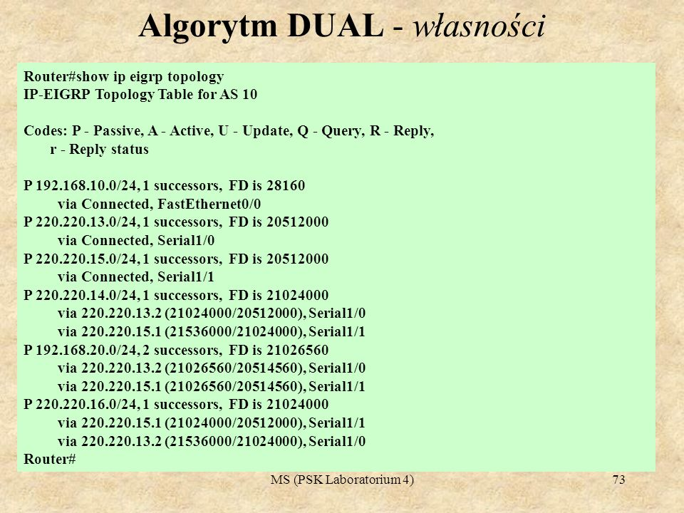 MS (PSK Laboratorium 4)73 Algorytm DUAL - własności Router#show ip eigrp topology IP-EIGRP Topology Table for AS 10 Codes: P - Passive, A - Active, U