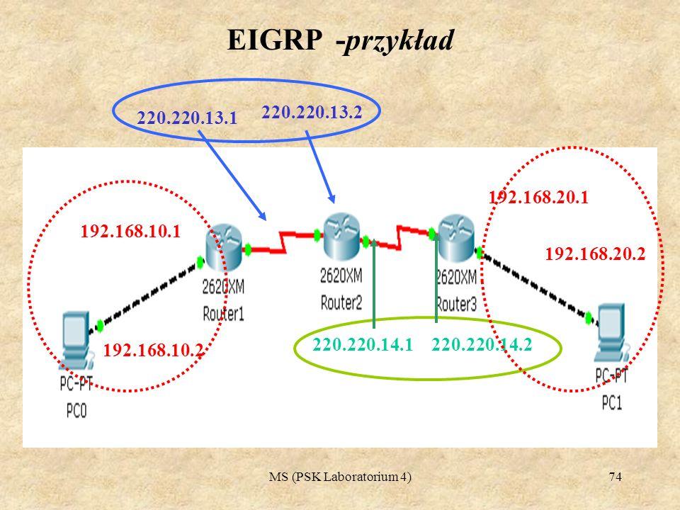 MS (PSK Laboratorium 4)75 EIGRP -przykład Router#configure terminal Router(config)#router eigrp 10 Router(config-router)#network 220.220.13.0 Router(config-router)#network 192.168.10.0 Router(config-router)#exit Router(config)# Sekwencja poleceń dla Routera 1 Router#configure terminal Router(config)#router eigrp 10 Router(config-router)#network 220.220.14.0 Router(config-router)#network 220.220.13.0 Router(config-router)#exit Router(config)# Sekwencja poleceń dla Routera 2