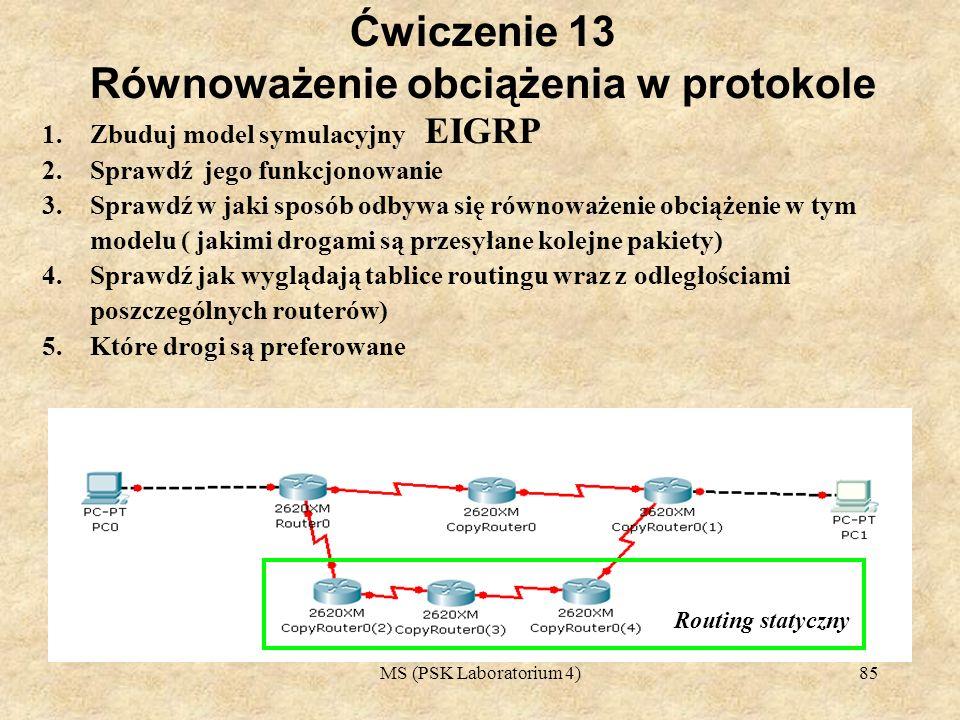 MS (PSK Laboratorium 4)86 Ćwiczenie 14 Równoważenie obciążenia w protokole EIGRP 1.Zbuduj model symulacyjny 2.Sprawdź jego funkcjonowanie 3.Sprawdź w jaki sposób odbywa się równoważenie obciążenie w tym modelu ( jakimi drogami są przesyłane kolejne pakiety) 4.Sprawdź jak wyglądają tablice routingu wraz z odległościami poszczególnych routerów) 5.Które drogi są preferowane Routing statyczny
