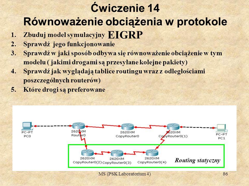 MS (PSK Laboratorium 4)87 Ćwiczenia 15 1.Korzystając z EIGRP Należy przyjąć iż poszcególe routery znajdują się w tej samej się LAN 2.Połączenie pomiędzy routerami jest zrealizowane za pomocą Ethernetu 3.Zbuduj model sieci symulacyjny 4.Zakładając iż trzy komputery znajdują się w różnych sieciach (192.168.1.0, 192.170.10, 170.189.90.0) 5.Zbuduj tablice routingu 6.Sprawdź funkcjonowanie całej sieci