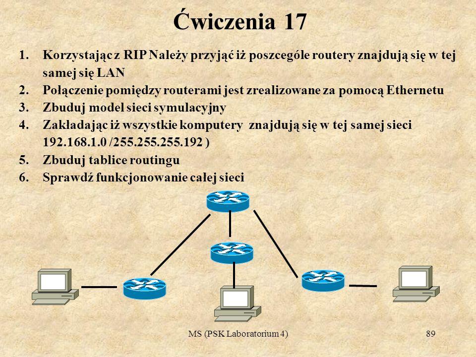 MS (PSK Laboratorium 4)90 Ćwiczenia 18 1.Korzystając z RIP Należy przyjąć iż poszcególe routery znajdują się w tej samej się LAN 2.Połączenie pomiędzy routerami jest zrealizowane za pomocą Ethernetu 3.Zbuduj model sieci symulacyjny 4.Zakładając iż 4 komputery znajdują się w różnych sieciach (192.168.1.0, 192.170.10, 170.189.90.0, 171.189.90.0, ) 5.Zbuduj tablice routingu 6.Sprawdź funkcjonowanie całej sieci