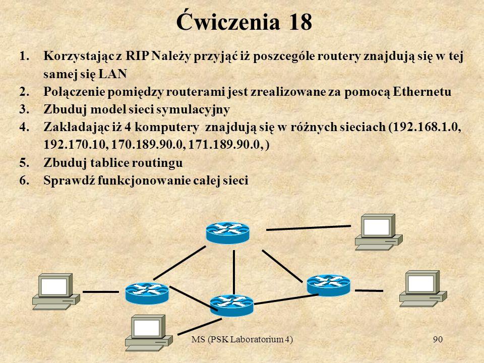 MS (PSK Laboratorium 4)91 Ćwiczenia 19 1.Korzystając z RIP Należy przyjąć iż poszcególe routery znajdują się w tej samej się LAN 2.Zaproponuj adresowanie, komputery znajdujące się w poszczególnych budynkach powinny stanowić odziemną domenę ogłoszeniową 3.W każdym z budynków jest 5 komputerółw PC 4.Na każdym serwerze zainstalowany jest serwer WWW, oraz FTP 5.Połączenie pomiędzy routerami jest zrealizowane za pomocą Ethernetu 6.Zbuduj model sieci symulacyjny 7.Zbuduj tablice routingu 8.Sprawdź funkcjonowanie całej sieci