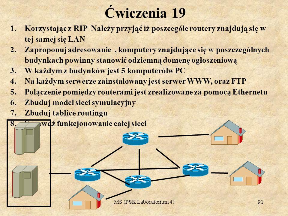 MS (PSK Laboratorium 4)91 Ćwiczenia 19 1.Korzystając z RIP Należy przyjąć iż poszcególe routery znajdują się w tej samej się LAN 2.Zaproponuj adresowa