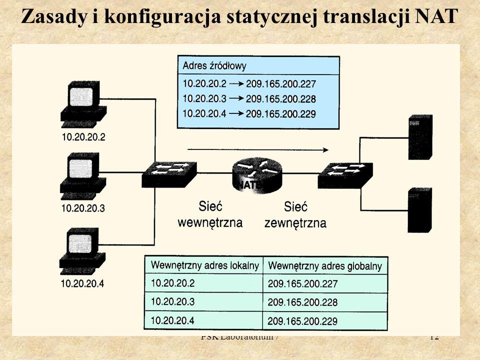 PSK Laboratorium 712 Zasady i konfiguracja statycznej translacji NAT