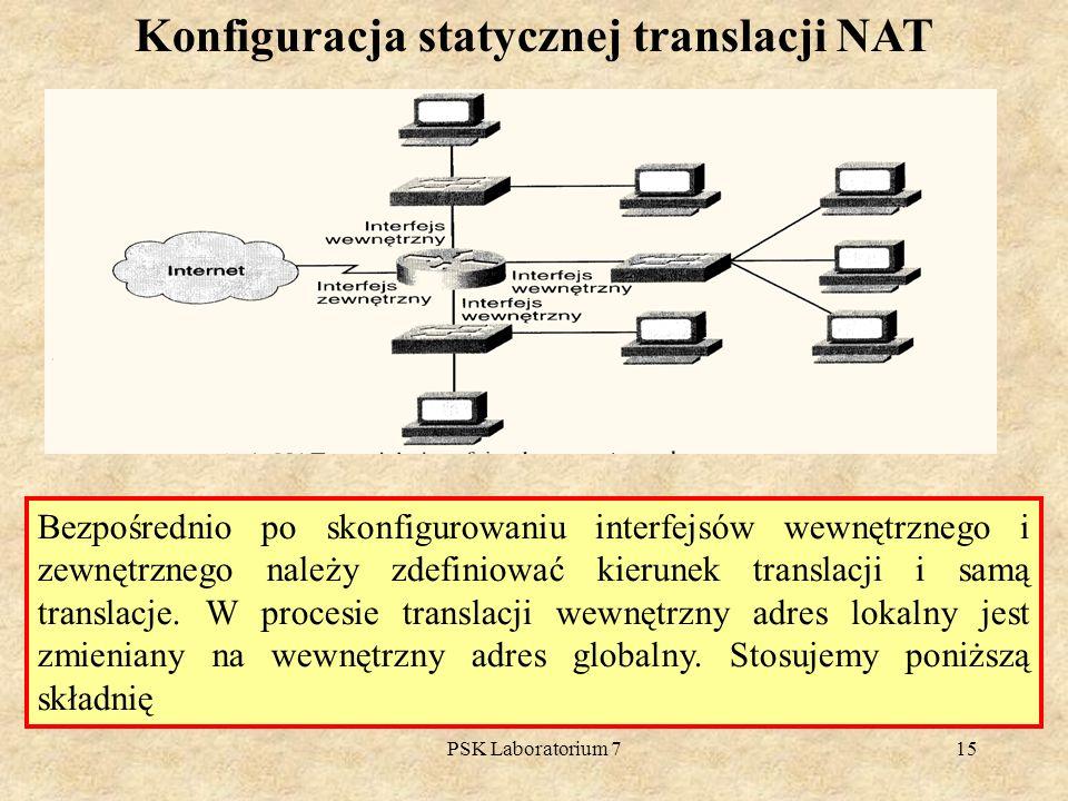 PSK Laboratorium 715 Konfiguracja statycznej translacji NAT Bezpośrednio po skonfigurowaniu interfejsów wewnętrznego i zewnętrznego należy zdefiniować