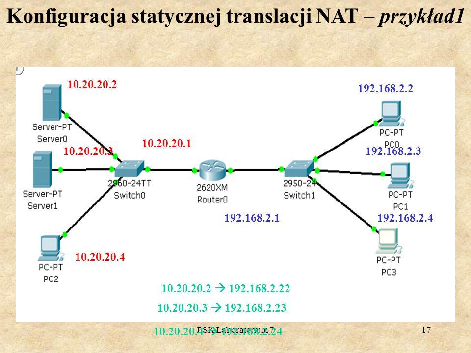 PSK Laboratorium 717 Konfiguracja statycznej translacji NAT – przykład1 10.20.20.3 10.20.20.4 10.20.20.1 192.168.2.3 192.168.2.4192.168.2.1 10.20.20.2