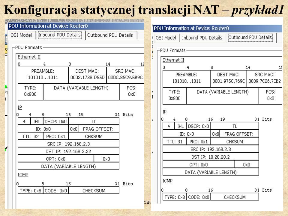 PSK Laboratorium 720 Konfiguracja statycznej translacji NAT – przykład1