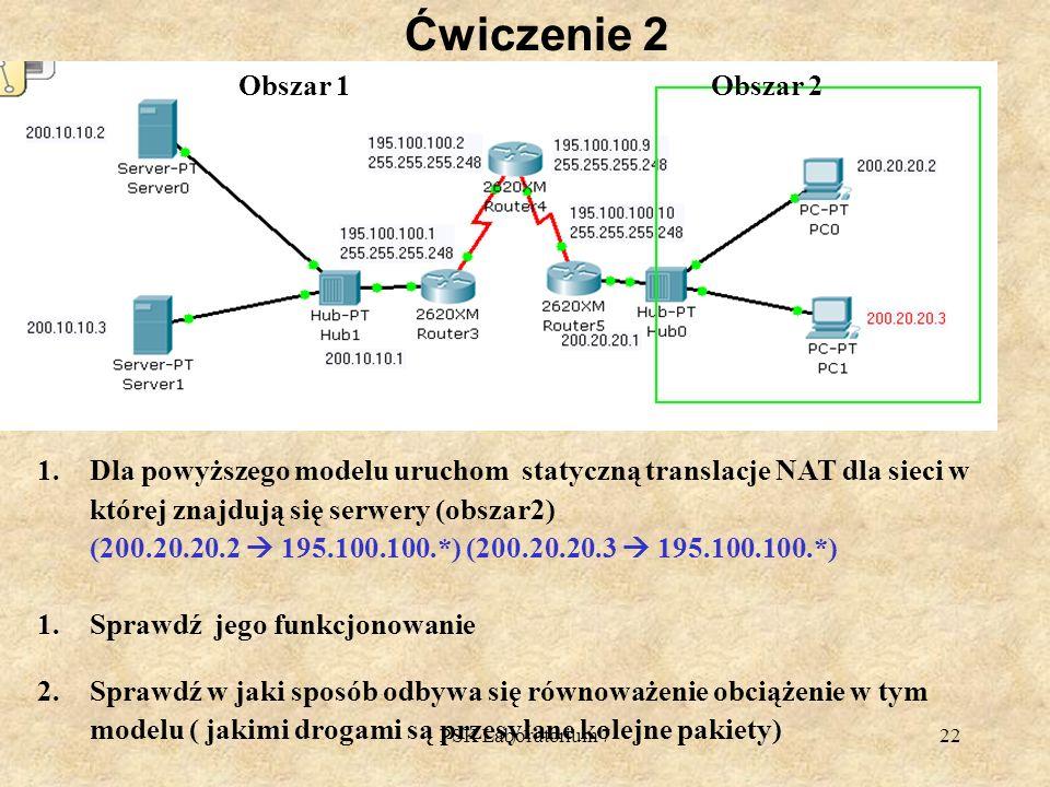PSK Laboratorium 722 Ćwiczenie 2 1.Dla powyższego modelu uruchom statyczną translacje NAT dla sieci w której znajdują się serwery (obszar2) (200.20.20