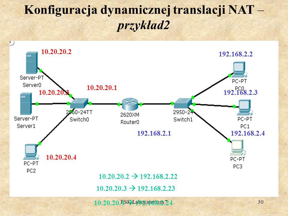 PSK Laboratorium 730 Konfiguracja dynamicznej translacji NAT – przykład2 10.20.20.2 10.20.20.3 10.20.20.4 10.20.20.1 192.168.2.2 192.168.2.3 192.168.2