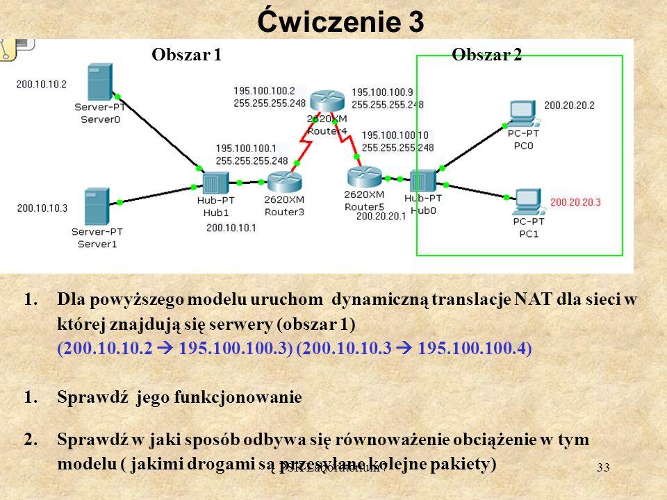 PSK Laboratorium 733 Ćwiczenie 3 1.Dla powyższego modelu uruchom dynamiczną translacje NAT dla sieci w której znajdują się serwery (obszar 1) (200.10.