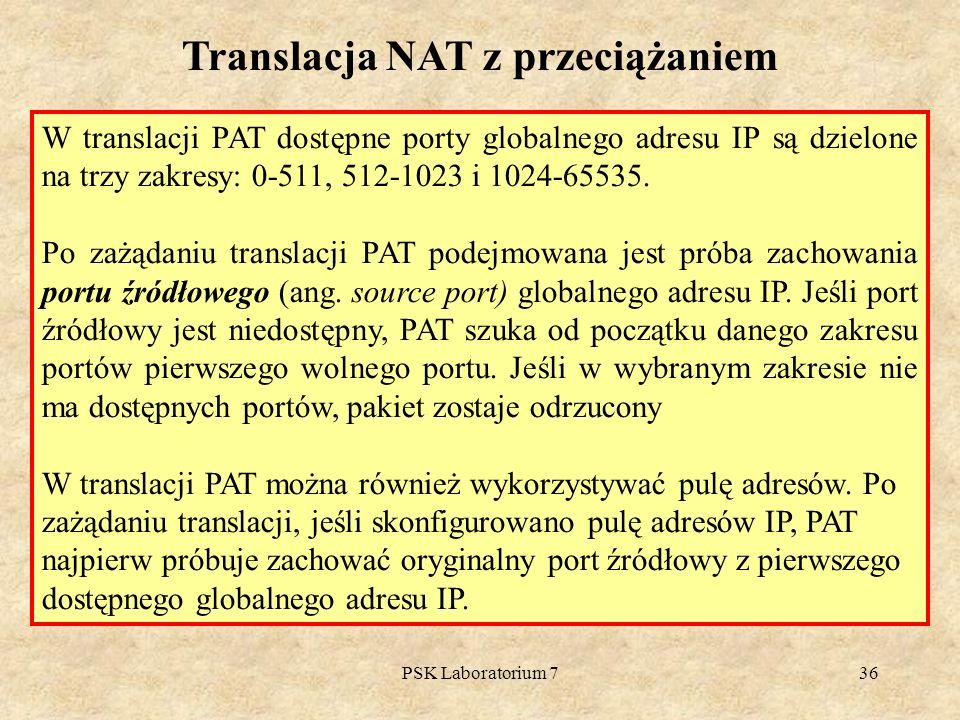 PSK Laboratorium 736 W translacji PAT dostępne porty globalnego adresu IP są dzielone na trzy zakresy: 0-511, 512-1023 i 1024-65535. Po zażądaniu tran