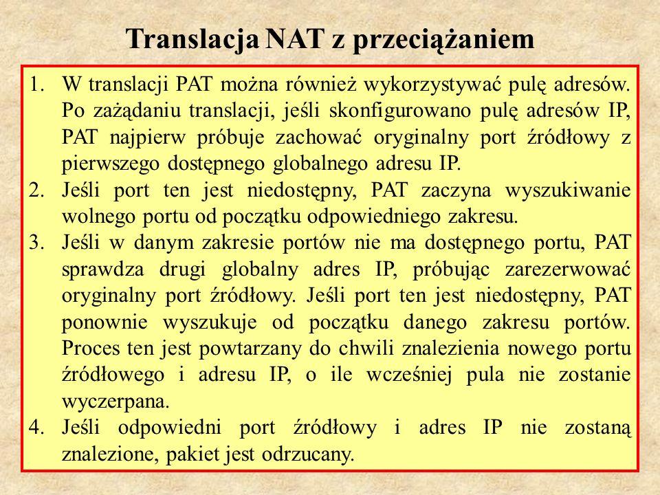 PSK Laboratorium 737 1.W translacji PAT można również wykorzystywać pulę adresów. Po zażądaniu translacji, jeśli skonfigurowano pulę adresów IP, PAT n