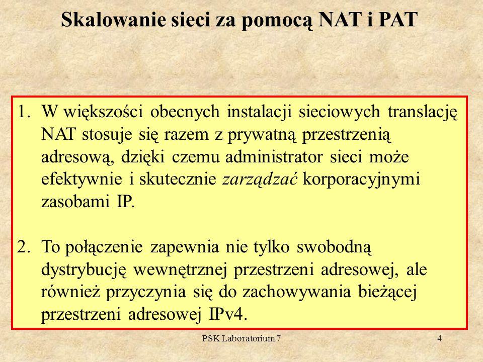 PSK Laboratorium 74 Skalowanie sieci za pomocą NAT i PAT 1.W większości obecnych instalacji sieciowych translację NAT stosuje się razem z prywatną prz