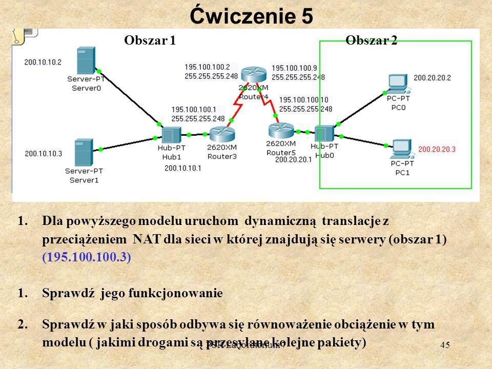 PSK Laboratorium 745 Ćwiczenie 5 1.Dla powyższego modelu uruchom dynamiczną translacje z przeciążeniem NAT dla sieci w której znajdują się serwery (ob