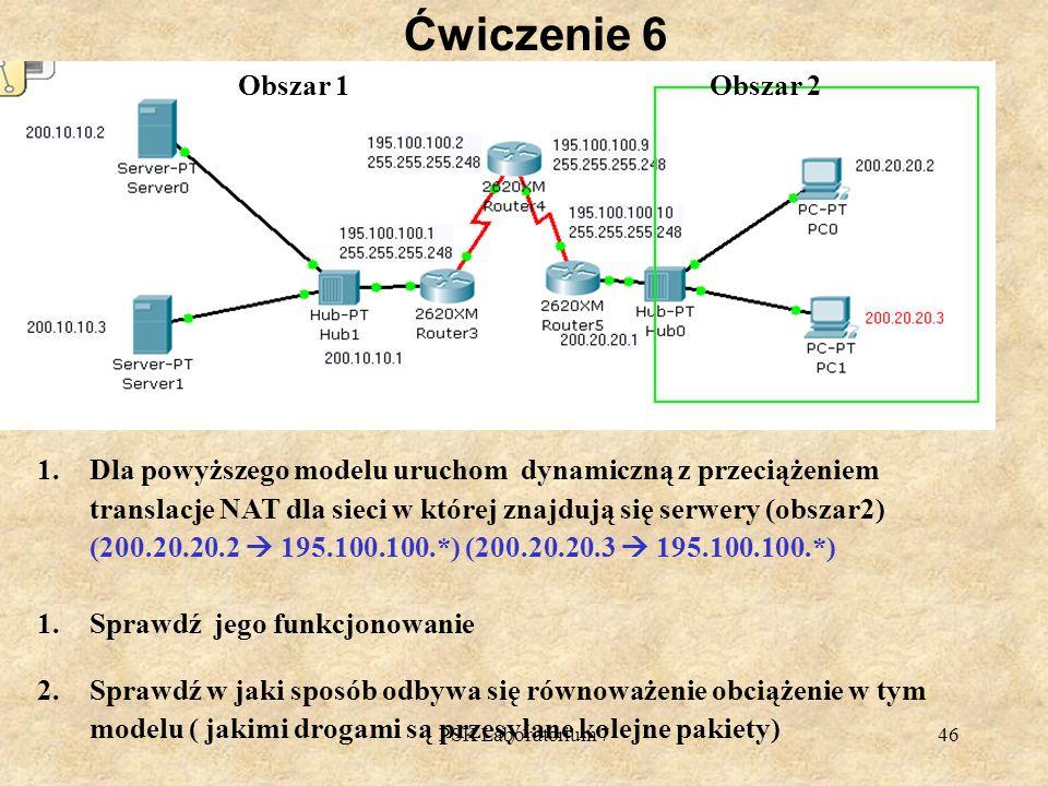 PSK Laboratorium 746 Ćwiczenie 6 1.Dla powyższego modelu uruchom dynamiczną z przeciążeniem translacje NAT dla sieci w której znajdują się serwery (ob