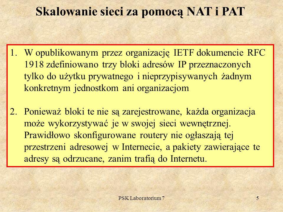 PSK Laboratorium 75 Skalowanie sieci za pomocą NAT i PAT 1.W opublikowanym przez organizację IETF dokumencie RFC 1918 zdefiniowano trzy bloki adresów