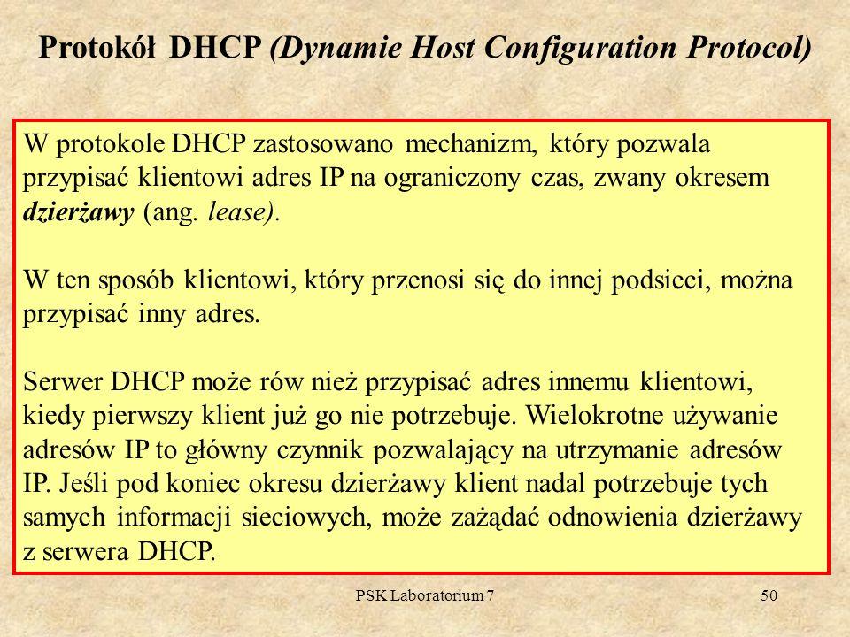 PSK Laboratorium 750 W protokole DHCP zastosowano mechanizm, który pozwala przypisać klientowi adres IP na ograniczony czas, zwany okresem dzierżawy (