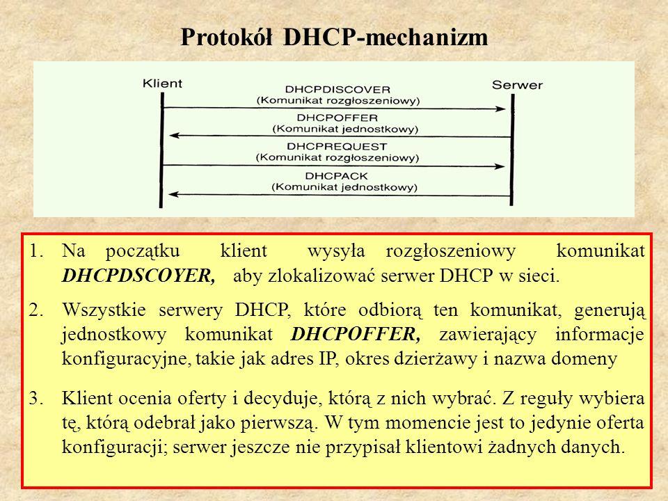 PSK Laboratorium 753 Protokół DHCP-mechanizm 1.Na początku klient wysyła rozgłoszeniowy komunikat DHCPDSCOYER, aby zlokalizować serwer DHCP w sieci. 2