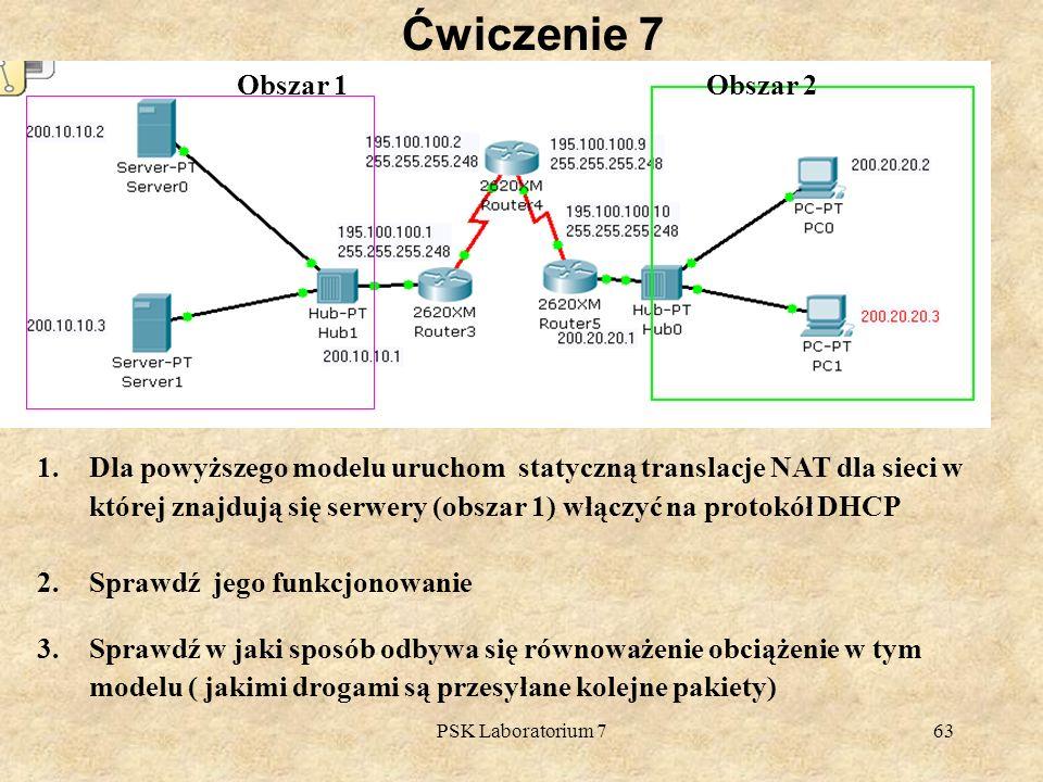 PSK Laboratorium 763 Ćwiczenie 7 1.Dla powyższego modelu uruchom statyczną translacje NAT dla sieci w której znajdują się serwery (obszar 1) włączyć n